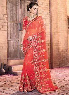 Delightful Embroidered Work Green Designer Saree