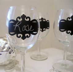 Chalkboard Wine Glasses with Scroll