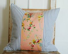 Cottage Pillow Cover, Decorative Pillows, Shabby Chic Pillow, Reversible, Ticking Stripe mixed with Loopy Vintage Floral