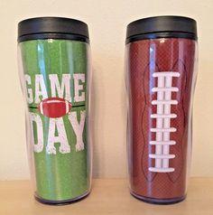 FOOTBALL COFFEE TRAVEL MUG 15 OZ BPA FREE GAME DAY GREEN BROWN  #Gridiron