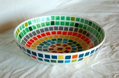 The Color Wheel Mosaic Serving Bowl made to by HappenstancePottery, $39.00