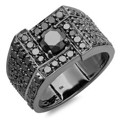 Elora 10k Black Plated Gold 4 1/2ct TDW Men's Round Black Diamond Ring (White Gold, Size 11.5)