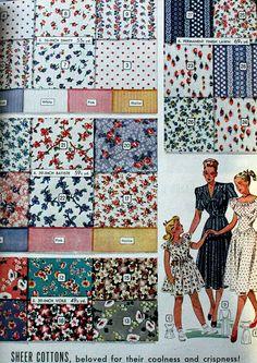 1940s voile cotton fabrics