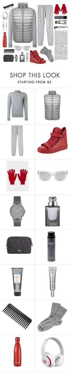 """Silver Day, Red Sun"" by leocremonini ❤ liked on Polyvore featuring Versace, Maison Margiela, Giuseppe Zanotti, Paul Smith, Acne Studios, Skagen, Gucci, Prada, Calvin Klein and Black"