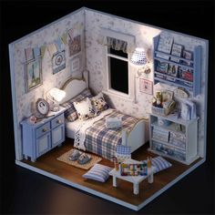 DIY Wooden Dollhouse Miniature Kit w/ Cover /LED Light/ ALL Furnitures Display | eBay