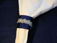 SPARKLY NAVY w SILVER Wedding Napkin Ring, Special Occasion, 25th Silver Anniversary, Reception, Special Event, Table Decoration, Set of 25 by CustomNapkinRings on Etsy