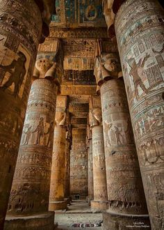 Het-Heru Temple - Temple of Hathor, Dendera - one of the best preserved temples in Egypt Ancient Egypt Fashion, Ancient Egypt Art, Ancient Egyptian Jewelry, Egyptian Temple, Old Egypt, Ancient Ruins, Egyptian Art, Ancient History, Egyptian Tattoo