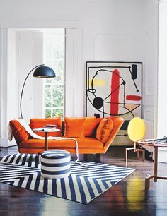 Vintage Decor Living Room Bold furniture does all the work in this living room – we adore this Flexform orange sofa. Image: Livingetc - How to make your home a pop-art-tastic space 2018 Interior Design Trends, Interior Design Inspiration, Home Interior Design, Room Inspiration, Colour Pop Interior, 1980s Interior, Room Interior, Interior Ideas, Living Room Art