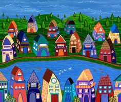 """Tiny Town By The River"" by Lisa Frances Judd. Paintings for Sale. Bluethumb - Online Art Gallery"