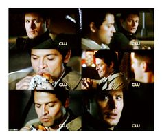 """Dean: You want to go through the plan again? Hey! Happy Meal! The plan?  Dean: How many burgers is that?  Castiel: I lost count. Somewhere in the low hundreds.  Castiel: These make me so happy."""