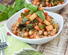 Saucy Chickpeas and #Zucchini #oilfree #glutenfree www.gardenfreshfoodie.com