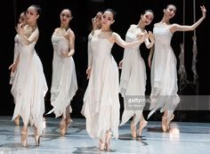 Dancers of the National Ballet of China perform on stage during a dress rehearsal of 'The Peony Pavilion' at Sadlers Wells Theatre on November 29, 2016 in London, England.