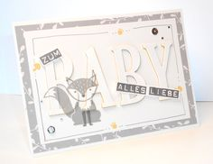 Baby Cards Stampin Up - Foxy Friends Baby Scrapbook, Scrapbook Cards, Scrapbooking, Stampin Up Karten, Stampin Up Cards, Large Letters, Letters And Numbers, Baptism Cards, Baby Wedding
