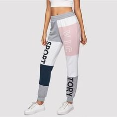 ZoViaNa Women Cut And Sew Elastic Waist Colorblock Drawstring Sweatpants Athleisure Pants Sewing Elastic, Elastic Waist, Women's Pants, Drawstring Pants, Athleisure, Color Blocking, Overalls, Pants For Women, Sweatpants