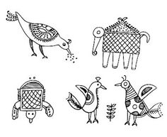 Popular Folk Embroidery Indian Folk Designs: ~ Folk Designs from West India ~ Embroidery Online, Folk Embroidery, Learn Embroidery, Embroidery Ideas, Embroidery Techniques, Madhubani Art, Madhubani Painting, Worli Painting, Fabric Painting