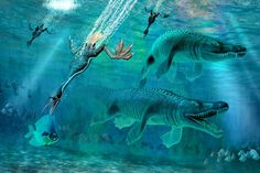 Hesperornis and Mosasaurus feeding frenzy on Behance
