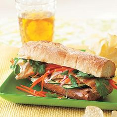 These carrot, cucumber, and cilantro packed vietnamese style sandwich is a delicious, savory option for a weeknight dinner.