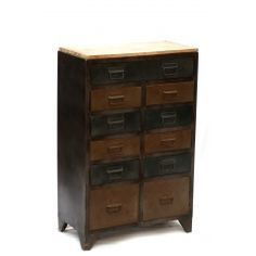The splendid Iron Cabinet with 10 small space drawers and 2 large drawers is suitable for all types of storage. This piece adds interest to a space in such a simple way. The offered range is painted in distressed black and brown finish with a mango wood smooth finish top and drop down pull handles.