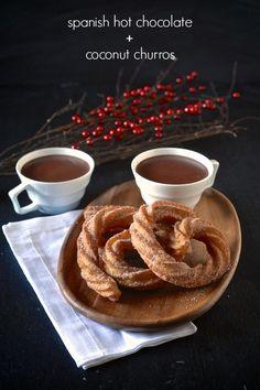 Spanish Hot Chocolate and Coconut Churros - TheNoshery.com