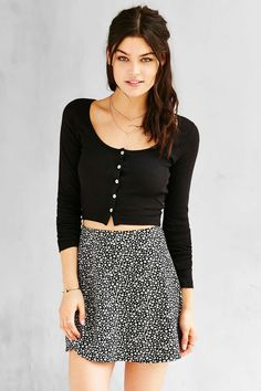Truly Madly Deeply Clarissa Cropped Long-Sleeve Top #UrbanOutfitters