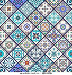 Vector seamless texture. Beautiful mega patchwork pattern for design and fashion with decorative elements. Set of Portuguese tiles,  Azulejo, Talavera, Moroccan ornaments - stock vector
