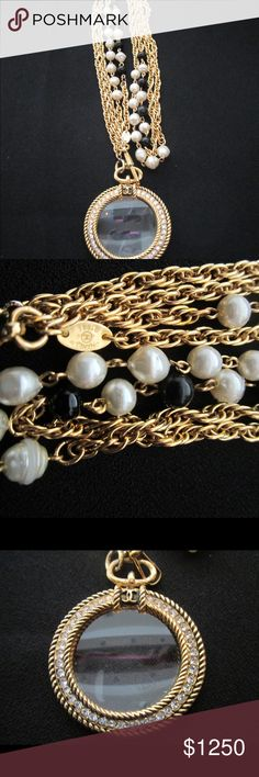 """Chanel Vintage Black &White Pearl """"Loupe"""" Necklace Chanel Vintage Black & White Pearl """"Loupe"""" Necklace. Measures 20 1/2"""" in length in excellent vintage condition.  The """"Loupe"""" has rhinestones on each side and no stones are missing. CHANEL Jewelry Necklaces"""