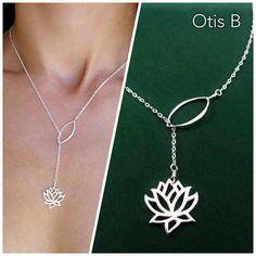 Collier Lotus, sautoir, Yoga bijoux, argent Sterling, y déposer, cadeau de demoiselle d
