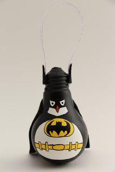 Penguin Batman by CouchCat on Etsy hand painted light bulb Recycled Light Bulbs, Painted Light Bulbs, Light Bulb Art, Light Bulb Crafts, Christmas Projects, Christmas Crafts, Batman Crafts, Batman Light, Tea Light Snowman