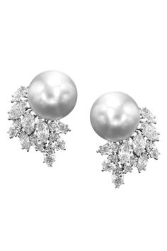 Mikimoto White Diamond & Pearl Drop Earrings Diamond Earrings