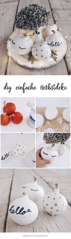 Make DIY autumn decorations yourself – paint pumpkins Make DIY autumn decoration yourself – beautify pumpkins – A simple crafting instructions for a table decoration in autumn Fall Crafts, Diy And Crafts, Crafts For Kids, Diy Interior, Diy Pumpkin, Diy Décoration, Painted Pumpkins, White Pumpkins, Fall Diy