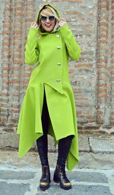 Now selling: Light Green Asymmetrical Coat / Extravagant Light Green Cashmere Coat / Funky Hooded Coat / Asymmetrical Hooded Coat TC72 https://www.etsy.com/listing/476016974/light-green-asymmetrical-coat?utm_campaign=crowdfire&utm_content=crowdfire&utm_medium=social&utm_source=pinterest