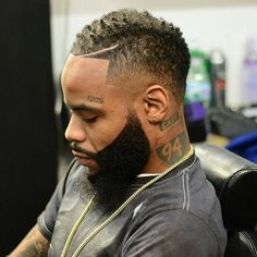 Graduated, elevated hair with partitions, fades, afro, and long with edgy outlines are some of the cool black men haircuts and black boys haircuts for Black Boys Haircuts, Black Men Hairstyles, Trendy Haircuts, Haircuts For Men, Cool Hairstyles, Latest Haircuts, Popular Haircuts, Dreads, Short Hair Cuts