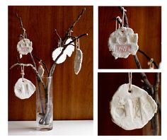 """Baking soda clay..kids can roll out, """"stamp"""" in a design let air dry and viola cut little keepsakes!"""