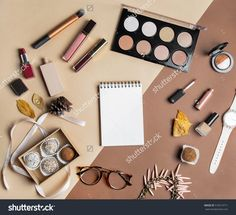 Feminine Flatlay Top View On Color Background: Healthy Sweets, Eyeshadows, Make Up Items, Watches, Glasses, Lipstick, Open Empty Notebook For Copy Space, Leaves, Jewellery, Cream. Beige Stylish Tones Stock Photo 519313711 : Shutterstock