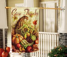 Harvest Outdoor Give Thanks Banner Flag for Thanksgiving