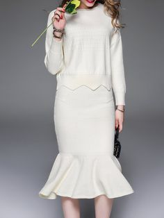 Shop Midi Dresses - White Elegant Crew Neck Sweater Dress online. Discover unique designers fashion at StyleWe.com.
