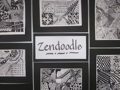 We jumped on the Zendoodle bandwagon and my middle school students amazed me with their enthusiasm for this assignment. We divided a half sheet into six sections and created a pattern or design in each of the six with fine line sharpie markers.