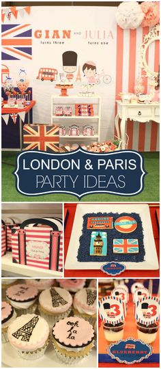 How fun is this London and Paris party? Amazing cupcakes and cookies! See more party planning ideas at CatchMyParty.com!