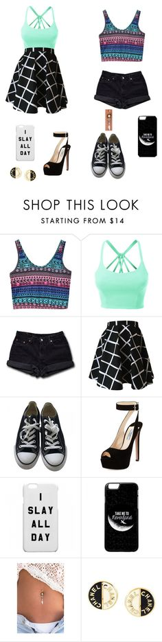 """""""There's Two People In Summer"""" by laurenbrgr ❤ liked on Polyvore featuring LE3NO, Levi's, Converse, Prada and Chanel"""