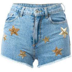 Chiara Ferragni Flirting shorts (1.460 BRL) ❤ liked on Polyvore featuring shorts, bottoms, pants, blue, chiara ferragni and blue shorts