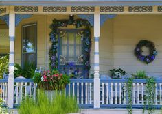blue and white porch love