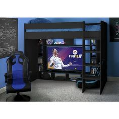 Buy Argos Home Black Gaming High Sleeper & Kids Mattress at Argos. Thousands of products for same day delivery or fast store collection. Gamer Bedroom, Bedroom Setup, Boys Bedroom Decor, Kids Bedroom Furniture, Boys Bedroom Paint, Gaming Furniture, Furniture Ideas, Bedroom Ideas, Kid Beds