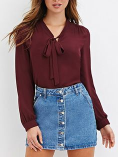Shop Burgundy Tie-neck Long Sleeve Chiffon Blouse online. SheIn offers Burgundy Tie-neck Long Sleeve Chiffon Blouse & more to fit your fashionable needs.