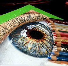 40 Color Pencil Drawings To Having You Cooing With Joy - Bored Art Eye Pencil Drawing, Realistic Pencil Drawings, Pencil Drawing Tutorials, Cool Drawings, Drawing Eyes, Color Pencil Drawings, Ouvrages D'art, Color Pencil Art, Eye Art