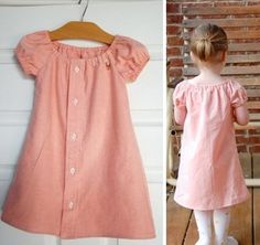 More upcycling. Pink men's shirt made into an adorable girl's dress. by deena