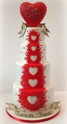 red blossom hearts wedding cake