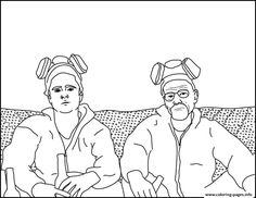 Print jesse and walt breaking bad coloring pages