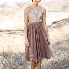 2015 Brown Chiffon Bridesmaid dress Beading Wedding by RenzRags