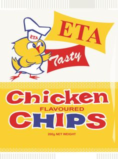 ETA chicken chips bag - the only chicken chips available - Bluebird only made Ready Salted and Salt and Vinegar back then. Nz History, Chicken And Chips, Advertising Pictures, Christchurch New Zealand, Nz Art, Kiwiana, Vintage Packaging, My Childhood Memories, Vintage Advertisements
