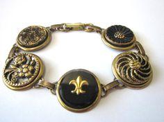 Antique button bracelet, 1800s brass mirrorback buttons, black glass buttons